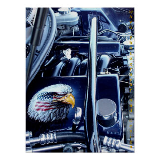 Eagle on Engine, American Muscle Poster