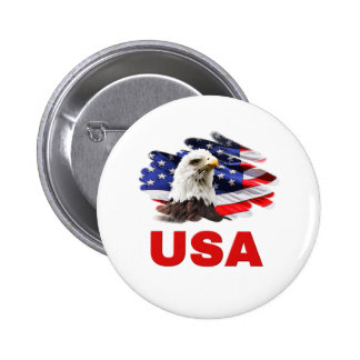 Eagle on Flag USA Patriotic Buttons/Badges Button