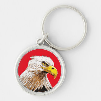 Eagle on Red Silver-Colored Round Keychain
