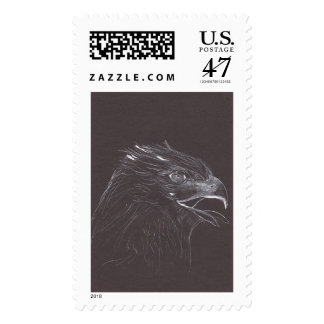 Eagle Original Drawing - White Ink recycled paper Postage