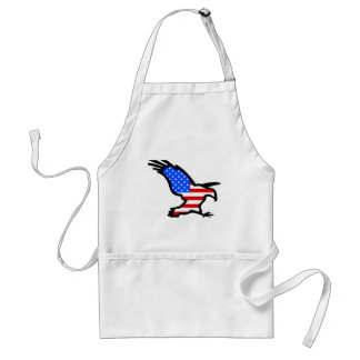 Eagle Outline with Flag Design Adult Apron