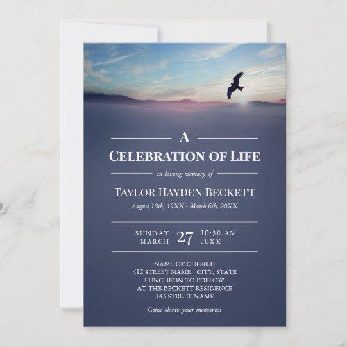 Eagle Over Mountains Blue Celebration of Life Invitation