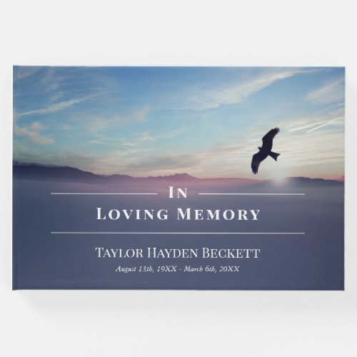 Eagle Over Mountains Blue Memorial Funeral Guest Book