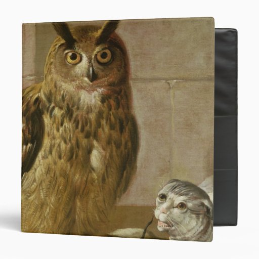 Eagle Owl and Cat with Dead Rats 3 Ring Binders