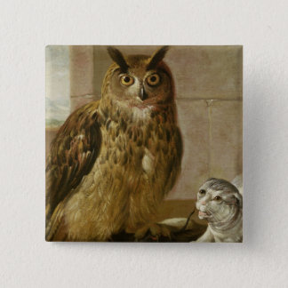 Eagle Owl and Cat with Dead Rats Button
