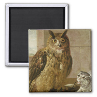 Eagle Owl and Cat with Dead Rats Magnet