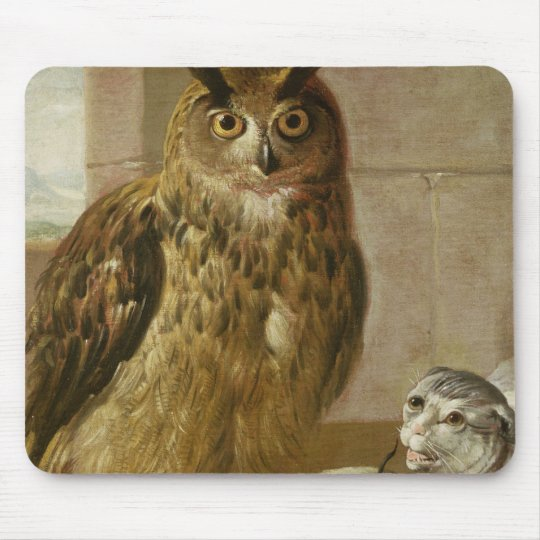 Eagle Owl and Cat with Dead Rats Mouse Pad