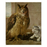 Eagle Owl and Cat with Dead Rats Print