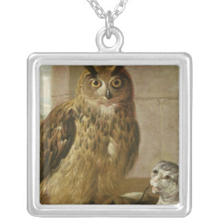 Eagle Owl and Cat with Dead Rats Silver Plated Necklace