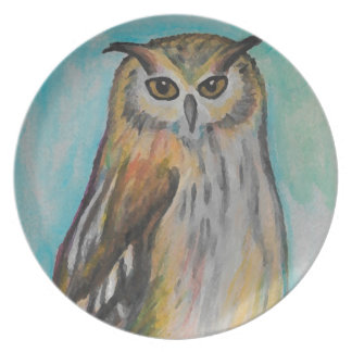 Eagle Owl Artistic Melamine Plate