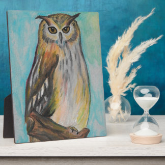 Eagle Owl Artistic Plaque with Easel