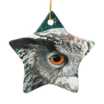 Eagle Owl Ceramic Ornament