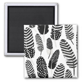 Eagle Owl Feather Pattern Watercolor Black White 2 Inch Square Magnet