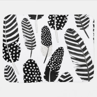 Eagle Owl Feather Pattern Watercolor Black White Baby Blanket