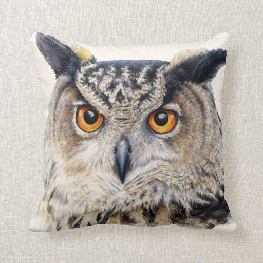 Eagle owl fine art throw pillow