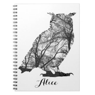 Eagle owl forest trees silhuette notebook