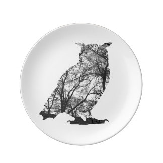 Eagle owl forest trees silhuette porcelain plate
