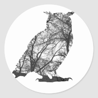 Eagle owl forest trees round stickers