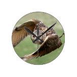 Eagle Owl In Flight Clocks