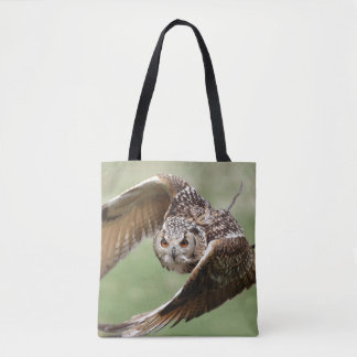 Eagle Owl In Flight Tote Bag
