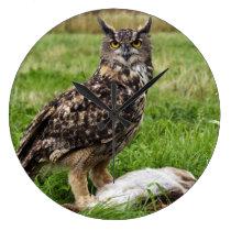 Eagle Owl Large Clock