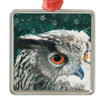 Eagle Owl Metal Ornament