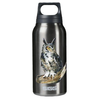 Eagle owl October watercolor 10 Oz Insulated SIGG Thermos Water Bottle