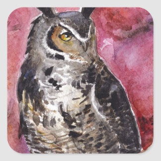 Eagle owl October watercolor Square Sticker