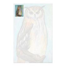 Eagle Owl oil pastel stationery