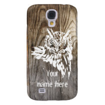 Eagle Owl old wood stencil Galaxy S4 Cover