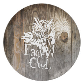 Eagle Owl old wood stencil Plate