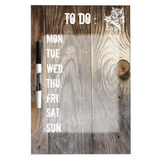 Eagle Owl old wood weekly schedule stencil Dry Erase Board