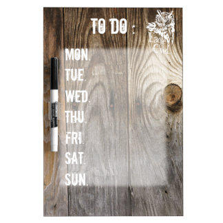 Eagle Owl old wood weekly schedule stencil Dry Erase Whiteboard