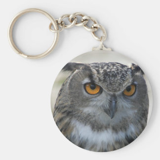 Eagle Owl Photo Basic Round Button Keychain