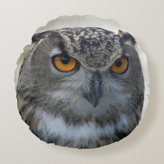 Eagle Owl Photo Round Pillow