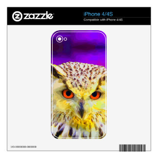 Eagle Owl Portrait Painting Pop Art Decals For iPhone 4S
