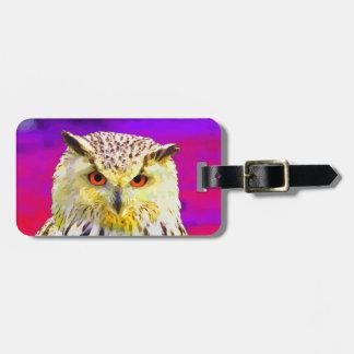 Eagle Owl Portrait Painting Pop Art Luggage Tag