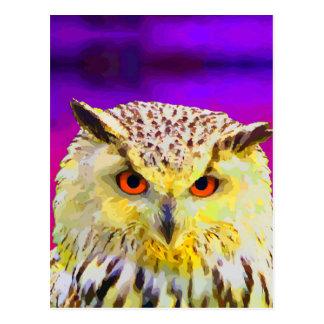Eagle Owl Portrait Painting Pop Art Postcard