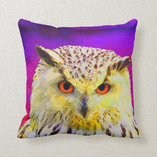 Eagle Owl Portrait Painting Pop Art Throw Pillow