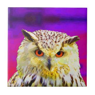 Eagle Owl Portrait Painting Pop Art Tile