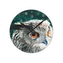 Eagle Owl Round Clock