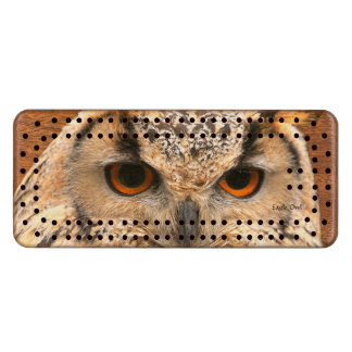 Eagle Owl Solid Wood Cribbage Board