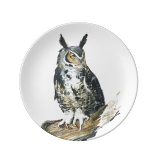 Eagle Owl watercolor painting Plate