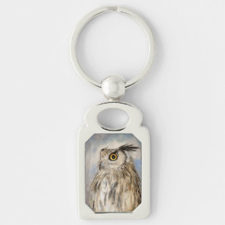 Eagle Owl Wildile Watercolor Art Silver-Colored Rectangular Metal Keychain
