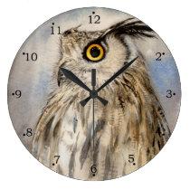 Eagle Owl Wildlife Art Large Clock
