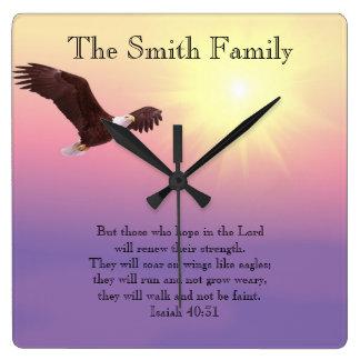 Eagle Pastel Sky Bright Sun Bible Verse Clock