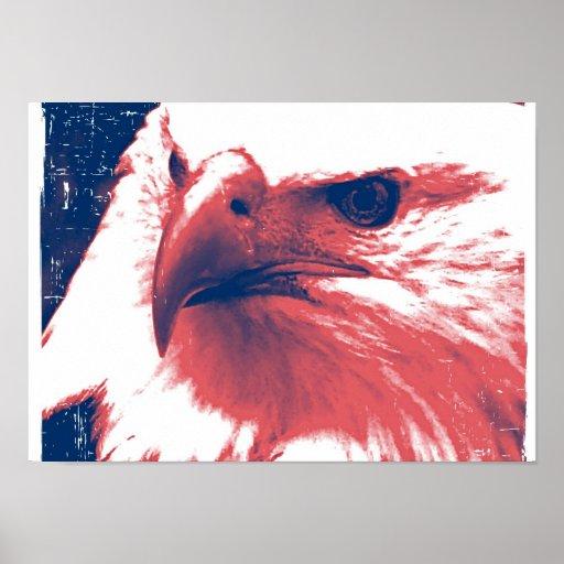 Eagle patriótico - arte del Grunge Póster