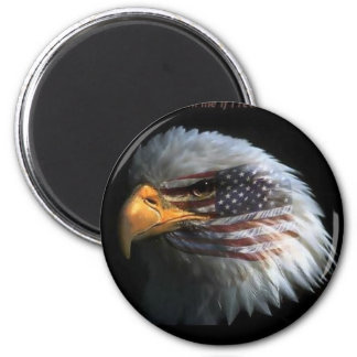 Eagle patriótico con el fondo de la bandera imán redondo 5 cm