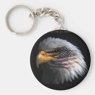 Eagle patriótico con el fondo de la bandera llavero personalizado