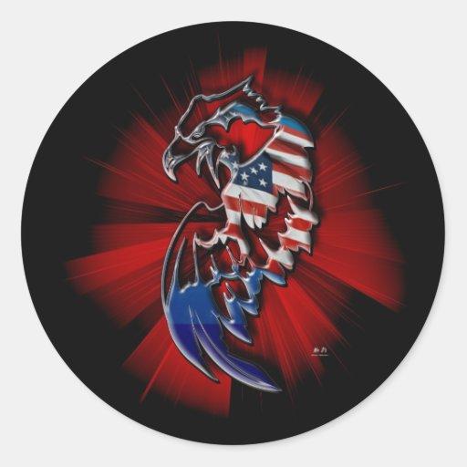 Eagle patriótico pegatina redonda